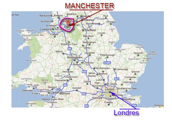 manchester inglaterra mapa Localizacion de Manchester en Viaje por Londres   Guia de Londres manchester inglaterra mapa